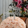 تاپر کیک و گل Happy Anniversary